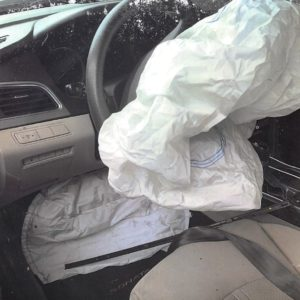 A picture showing the airbag after our client has an automobile accident in Georgia.